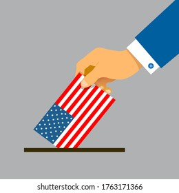 Hand putting voting paper with the USA flag. Vintage stylized USA election conceptual Flat style. Vector illustration