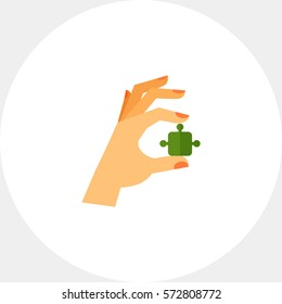 Hand with Puzzle Icon