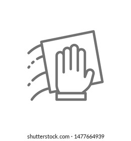 Hand with a rag, cleaning line icon.