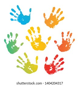 Hand rainbow print isolated on white background. Color child handprint. Creative paint hands prints. Happy childhood design. Artistic kids stamp, bright human fingers and palm Vector illustration