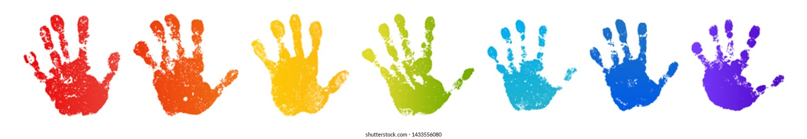 Hand rainbow print isolated on white background. Color child handprint. Creative paint hands prints. Happy childhood design. Artistic kids stamp, bright human fingers and palm Vector illustration - Shutterstock ID 1433556080