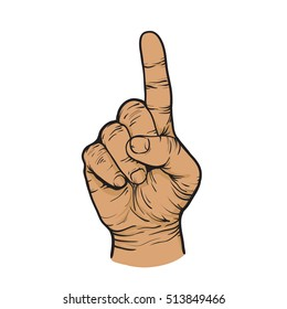 Hand with a raised finger up. Vector illustration isolated on white background.