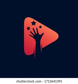 Hand reach stars with play icon logo