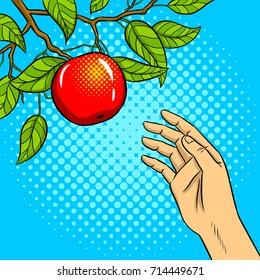 Hand reaches for apple on tree pop art retro vector illustration. Comic book style imitation.