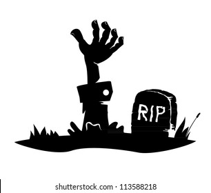 Hand reaching from the grave, simple drawing, icon