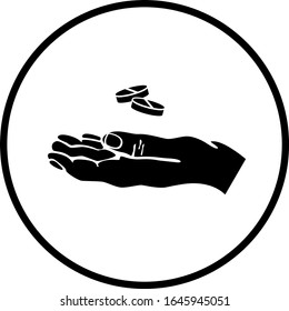 hand receiving two compressed medicine tablets symbol
