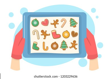 Hand in red gloves holding tray with tasty gingerbread cookie collection. Cooking dessert for christmas dinner. Making sweet traditional food. Isolated flat vector illustration