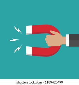 Hand with red horseshoe magnet.  Businessman attracting money, customers, investment success. Vector flat illustration on blue background