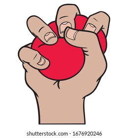 hand with red stress ball that squeezes hard. work, burnout, stress, isolated, vector.