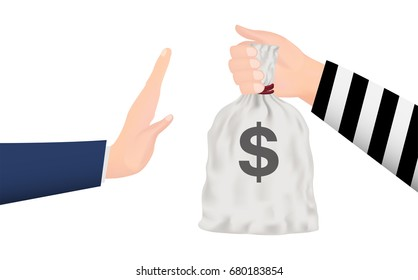 hand rejecting money bag from thief hand