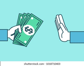 Hand rejecting money. Stop corruption, don't take bribes, money concept. Simple style vector illustration