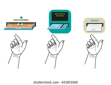 Hand removes money, atm card or official receipt from Automated Teller Machine or ATM. Editable Clip Art.