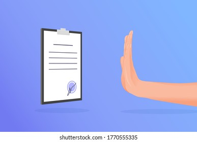 Hand renouncement contract. Categorical denial of signature document hand in stop position rejection unprofitable business loan agreement rejection bribery vector corruption and bribes.