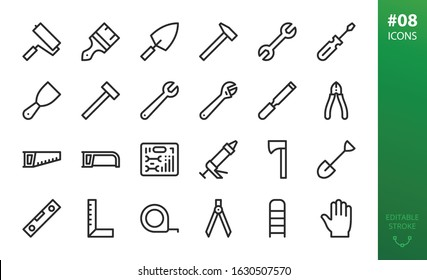 Hand repair tools icons set. Set of adjustable wrench, sealant gun, paint brush, hammer, hand screwdriver, tool kit case, nippers, hack saw, construction level, work gloves, wood chisel isolated icon