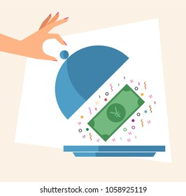 Hand revealing Money in a Cloche. Cashback concept. Vector illustration of hand, cloche and Japanese Yen currency banknote.