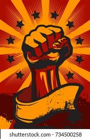 Hand Up Revolution Poster Vector Illustration