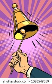 hand ringing the bell. Comic book cartoon pop art retro vector illustration