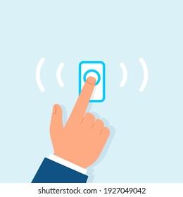 Hand ringing doorbell illustration. Clipart image.