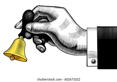 Hand ringing retro bell. Vintage engraving stylized drawing. Vector illustration