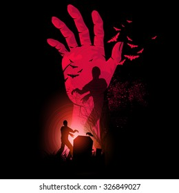 A hand rising up with zombies walking. Vector.