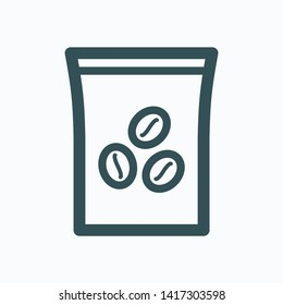 Hand roasted blend ground coffee paper pack isolated vector icon