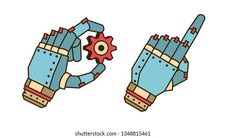 The hand of the robot holds the gear. The cyborg palm is indicated by the index finger. Vector detailed icons.