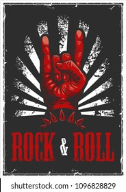 Hand in rock and roll sign in poster, vector illustration.