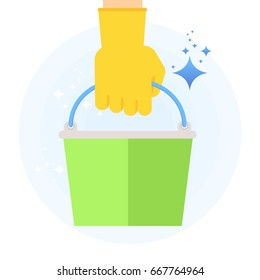 Hand in rubber glove holding bucket for clean, fresh, hygiene and shine in house. Flat vector cartoon illustration. Objects isolated on a white background.