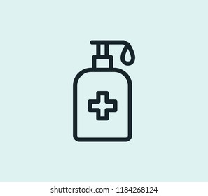 Hand sanitize icon line isolated on clean background. Hand sanitize icon concept drawing icon line in modern style. Vector illustration for your web mobile logo app UI design.