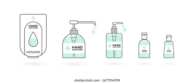 Hand sanitizer containers icon set. Washing alcohol gel used against viruses, bacteria, flu, coronavirus. Waterless hand cleaner. Handwashing. Black outline. Vector illustration, flat design