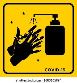 Hand Sanitizer Disinfectan Hand Washing Vector Yellow Warning Sign