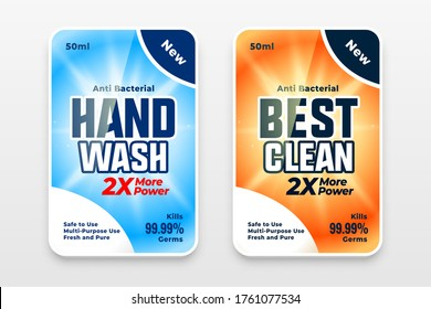 hand sanitizer or disinfectant cleaner labels design template