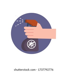 Hand sanitizer. Disinfection. Hand sanitizer bottle, washing gel. Vector illustration. Isolated on white background.