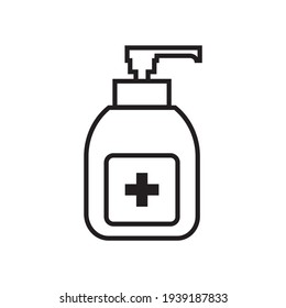 Hand sanitizer icon vector. Disinfection. Hand sanitizer bottle icon, liquid soap icon vector