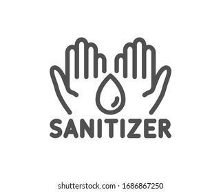Hand sanitizer line icon. Sanitary cleaning sign. Washing hands symbol. Quality design element. Editable stroke. Linear style hand sanitizer icon. Vector