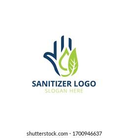 Hand Sanitizer logo design, hand,water drop and leaf vector design.