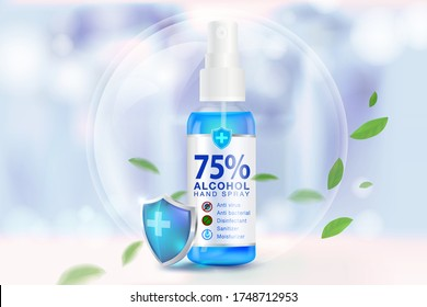 Hand sanitizer spray 75% alcohol components, kill up to 99.99% of covid-19 viruses, bacteria and germs on a blurred light blue background. Pack in clear plastic bottles used to spray.Realistic file.