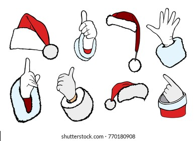 The hand of Santa Claus in white gloves symbolizing Ok, well, good and pointing the direction and collection of different shapes santa xmas christmas hats in red black white color
