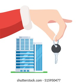 Hand Santa gives the key to the apartment. Christmas sale of new apartments, holiday offer. Vector illustration in trendy flat style, isolated on white background for web banner design or print flyer