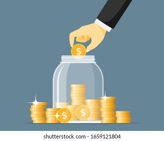 Hand saving coins in glass jar vector illustration. Money jar concept. Save finance in glassware bank. Moneybox bottle.