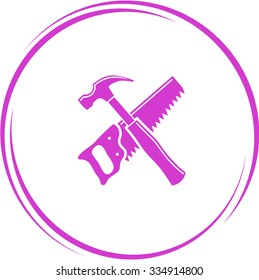 hand saw and hammer. Internet button. Vector icon.