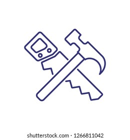 Hand saw and hammer line icon. Tool, instrument, carpenter. Construction concept. Can be used for topics like carpentry, woodwork, craft