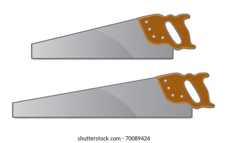 Hand saws illustration. Small and large version with wooden handles.
