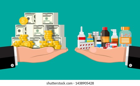 Hand scales with pile of money and bottles of drugs and pills. Health insurance and healthcare. Buying and selling drugs. Pharmacy shop. Vector illustration in flat style