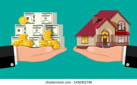 Hand scales with private house and money. Buying a home. Real estate. Suburban wooden house, dollar stacks and gold coins. Vector illustration in flat style