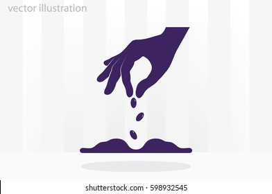 Hand and seeds, vector icon