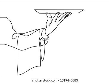 Hand Serving Tray of Food-continuous line drawing
