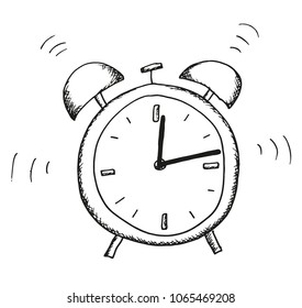 Hand shaded illustration of an alarm clock.  The hands are isolated - they can rotate freely. Use as illustrations for newspapers, magazines, invitations, letters, cards etc. Vector eps 10.