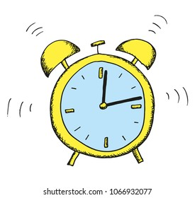 Hand shaded illustration of an alarm clock. Colored. Hands are isolated - they can rotate freely. Use as illustrations for newspapers, magazines, invitations, letters, cards etc. Vector eps 10.
