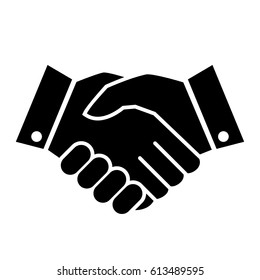 Hand shake business vector icon on white background